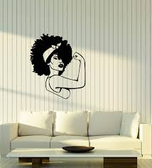 Amazon Com Vinyl Wall Decal Afro Girl Power Woman Strength African Black Lady Stickers 3770ig Home Kitchen