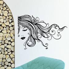 Shop Beautiful Hair Woman Face Vinyl Wall Art Decal Sticker Overstock 10644738