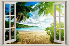 Virgin Island 3d Window View Decal Wall Sticker Art Mural Exotic Ocean Beach For Sale Online