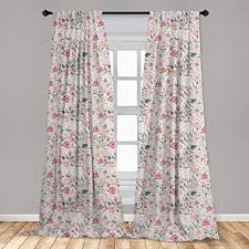 Amazon Com Ambesonne Floral Spring Curtains 2 Panel Set Watercolor Effect Jumble Flowers Herbs And Leaves Meadow Art Lightweight Window Treatment Living Room Bedroom Decor 56 X 63 Pink White Home Kitchen