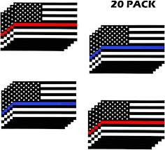 Amazon Com Gtotd Us Flag Stickers With Thin Blue Line Thin Red Line Stickers Decal For Cars Trucks American Usa Flag Stickers Decal Vinyl Bumper Sticker Honoring Police Law Enforcement 20 Pack