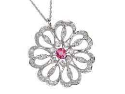 vintage diamond ruby flower pendant