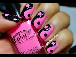 pink black yin yang nail art tutorial
