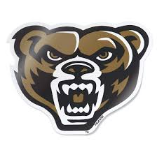 Oakland University Full Color Golden Grizzly Bear Head Car Decal Nudge Printing