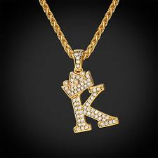 iced out initial k necklace diamond