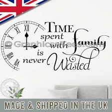 Time Spent With Family Is Never Wasted Inspirational Wall Sticker Quote Home Wall Art Decor Decal