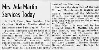 Obituary for Ada Caroline Walker Martin - Newspapers.com