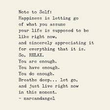 note to self happiness is letting go of what you assume your life