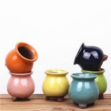 flower pot mini purple sand ceramic