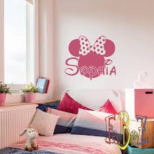 Amazon Com Personalized Girl Name Wall Decal Minnie Mouse Custom Vinyl Decals Cartoon Stickers Baby Kids Girls Room Bedroom Nursery Wall Art Decor M052 Home Improvement