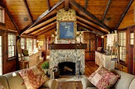 rustic living room and beams cabin