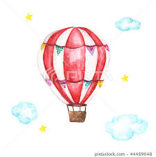 Watercolor hot air balloon, clouds and star - Stock Illustration [44489048]  - PIXTA