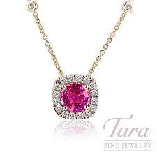 18k yellow gold pink sapphire pendant