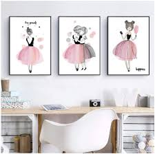 Amazon Com Wsqyf Cute Cartoon Girl Canvas Art Print Poster Kids Room Wall Decor Watercolor Pink Canvas Painting For Girl Room Decoration 40x60cmx3 No Frame Posters Prints