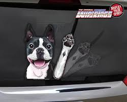 Boston Terrier Waving Wipertags Decal For Rear Vehicle Wiper Blades Wipertags