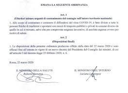 Coronavirus, nuova ordinanza: divieto spostamenti da un comune all ...