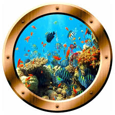Coral Reef Wall Sticker Porthole Underwater School Of Fish Wall Decal Decor Beach Style Wall Decals By Vwaq Vinyl Wall Art Quotes And Prints