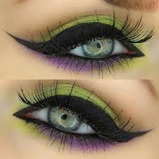 green and purple eye makeup cat eye