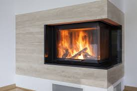 modern two sided corner fireplace