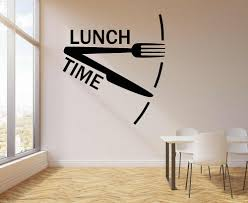 Dinner Lunch Time Clock Vinyl Wall Decal Home Decor For Kitchen Cafe Stickers Dining Room Wall Decor Stickers G753 Wall Stickers Aliexpress