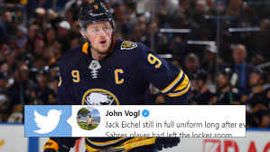 Jack Eichel remained in full uniform as everyone else left and ...