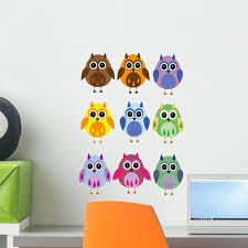 Colorful Owls White Wall Decal Wallmonkeys Com