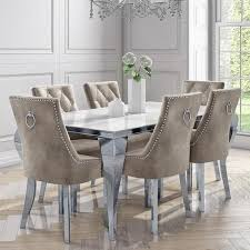 mirrored dining table with 6 chairs in