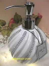 white crystal swirl pump soap dispenser
