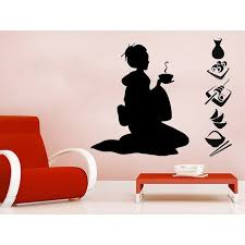 Shop Sushi Menu Wall Decal Geisha Vinyl Sticker Decals Girl Manga Oriental Girl Japan Japanese Sticker Decal Size 22x30 Color Black Overstock 14058653