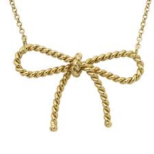 bow pendant yellow gold chain necklace