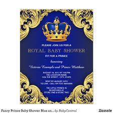 Invitacion Azul Y Oro De Lujo De Principe Baby Shower Zazzle Com