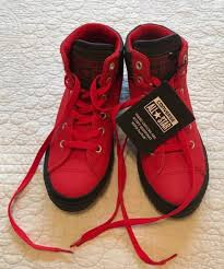 whole kids red leather converse