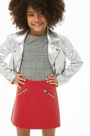 textured faux leather mini skirt kids