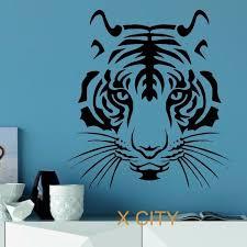 Tiger Head Wild Animal Wall Sticker Vinyl Art Decal Home Decoration For Window Door Room Mural Wish