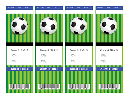 Soccer Ticket Birthday Invitation Blank For You To Fill Out