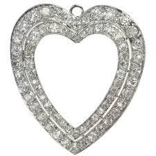 double row diamond heart necklaces