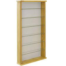 solid wood 6 shelf glass wall display
