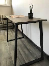 Dark Brown Varnished Oak Wood Desk Powder Coated Black Table Etsy