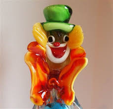 murano glass clown holding ball