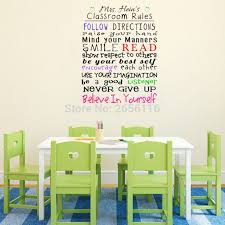 Personalized Classroom Rules Wall Decals Custom Any Teacher Name Follow Directions Words Lettering Vinyl Stickers For School Stickers And Decal Machinesticker Boy Aliexpress