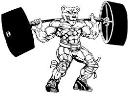 Weight Lifting Bear Mascot Decal Sticker