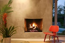 venetian plaster fireplace with modern