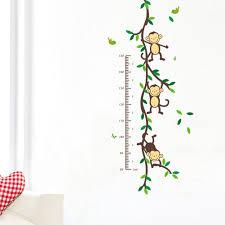 Amazon Com Llq Wall Sticker Measuring Kids Growth Chart Decal Cartoon Monkey Height Measurement Mural For Children S Room Nursery Deco Baby