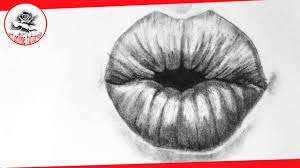 how to draw lips kissing step by step