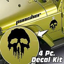 Amazon Com Skunkmonkey 4 Piece Side Hood Fender Decal Kit Fits Jeep Wrangler Lj Tj Jk Jku Punisher Matte Black Stickers Automotive