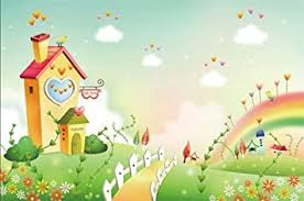 Amazon Com Lfeey 10x7ft Cartoon Village Photography Backdrop Countryside View Baby Dream Place White Fence Rainbow Garden Flowers Photo Background Kids Birthday Party Events Decoration Photo Studio Props Camera Photo