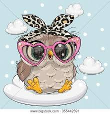 cute cartoon owl pink vector photo