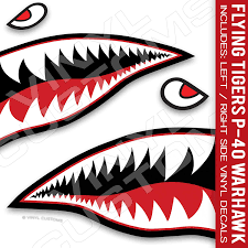 Amazon Com Flying Tiger Decal Shark Teeth Decal P 40 Warhawk 24 Inches 1 Pair Arts Crafts Sewing