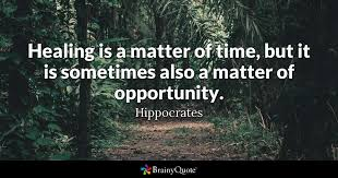 hippocrates healing is a matter of time but it is