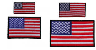 embroidered american flag patches black